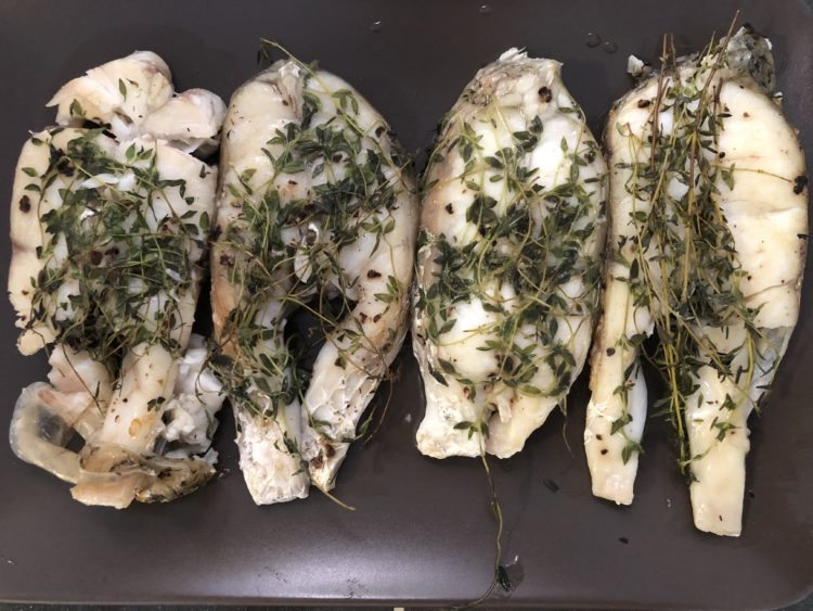 Grill Barramundi with thyme